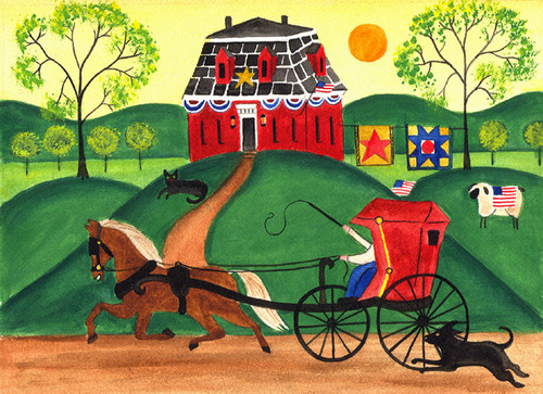 PRIMITIVE HORSE and BUGGY QUILT HOUSE FOLK ART PRINT
