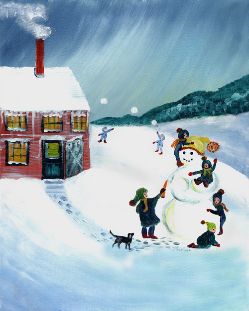 SCHOOL SNOW DAY SNOWMAN MAKING