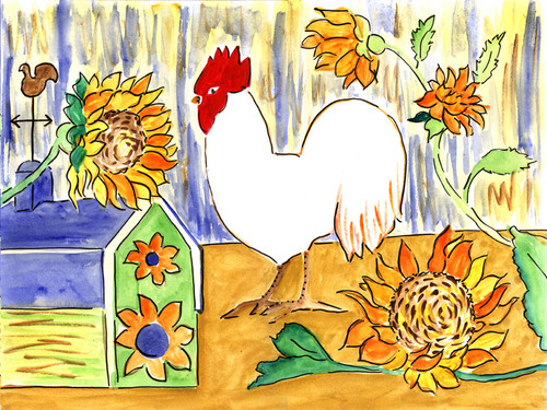 ROOSTER IN SUNFLOWERS