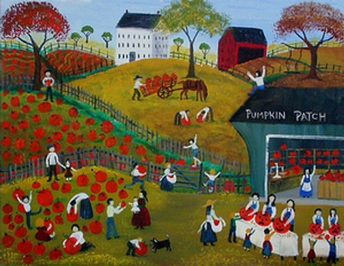 Pumpkin Farmland Folk Art Painting