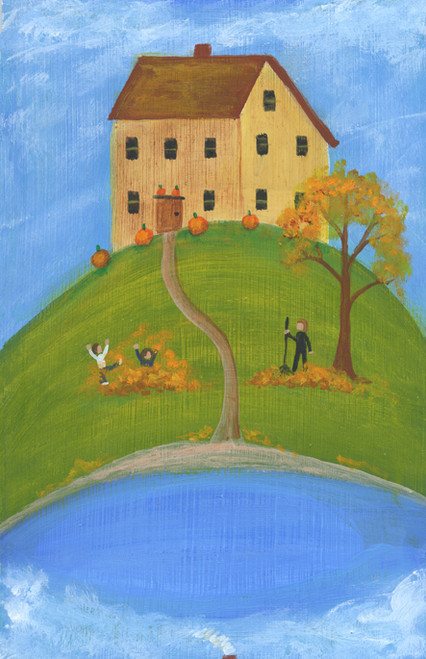 Raking Leaves in Atumn by Pond House Folk Art Print