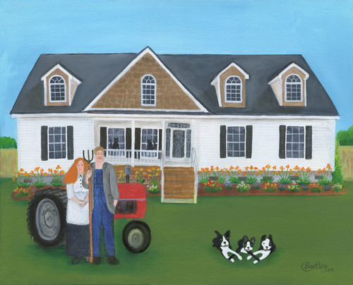 Coulter House and Pet Portrait Folk Art Painting