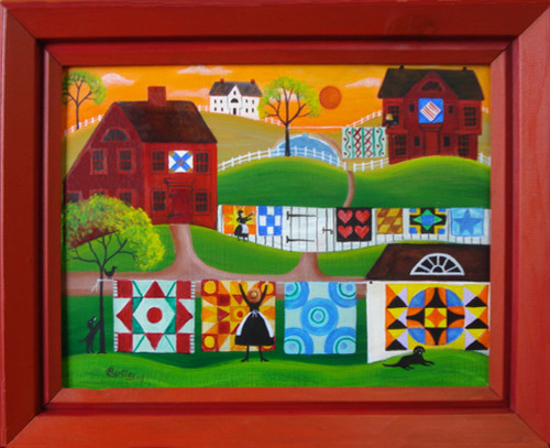 RED SALTBOX QUILTERS VILLAGE FOLK ART PAINTING SOLD