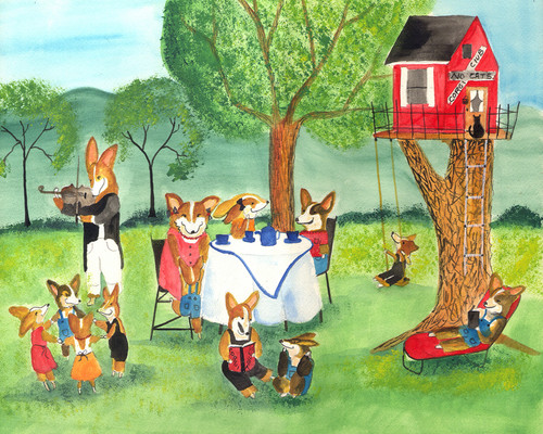 Corgi Dog Tea Party Folk Art Party Print