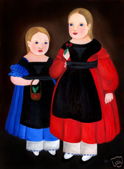 PRIMITIVE FOLK ART PAINTING LARGE DOUBLE PORTRAIT GIRLS