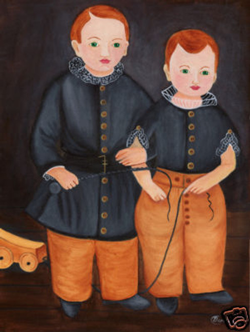 PRIMITIVE FOLK ART PAINTING LARGE DOUBLE PORTRAIT BOYS