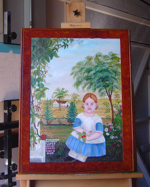 HUGE PRIMITIVE CHILD Arabella Sparrow 1848 FRAMED Original Oil Painting