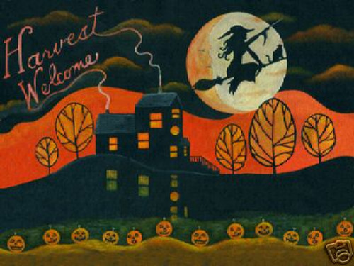 HALLOWEEN WITCH SPELL HARVEST MOON FOLK ART PRINT 12x16