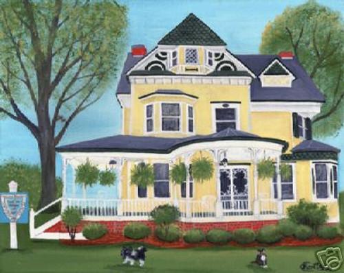 PRIMITIVE FOLK ART LARGE PAINTING YOUR HOME PETS SALE!!