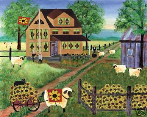 Sheep Wagon & Cat Sunsations Blue Sky Folk Art 12x16