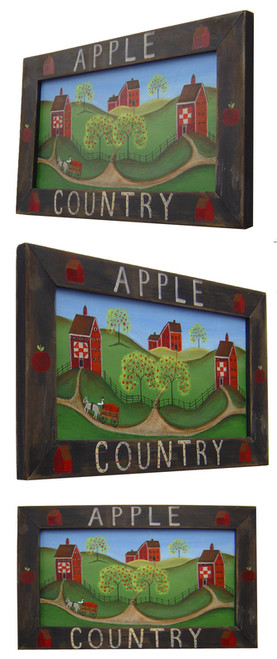 Apple Country Primitive Folk Art Painting Framed