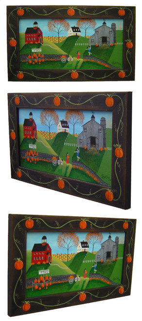 Pumpkin Country Folk Art Painting Framed Sold