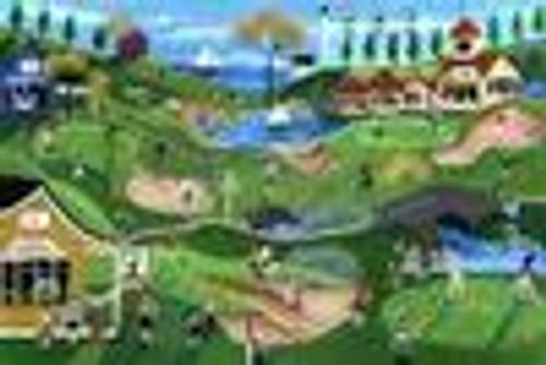 FAIRWAY GOLF COURSE PRIMITIVE FOLK ART PRINT 12x16