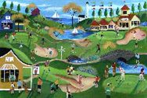 Primitive Fairway Golf Course Folk Art 11x14