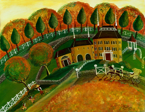 RAKING AUTUMN LEAVES at MUSTARD HOUSE FOLK ART PAINTING
