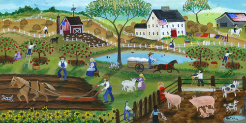 American Country Animal Farm of Yesteryear Folk Art Painting