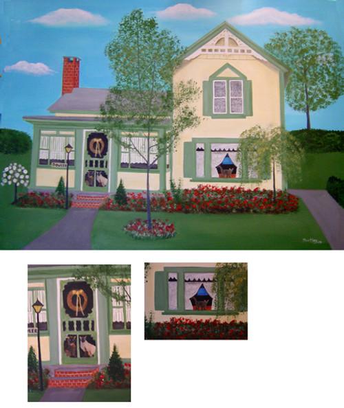 Dowler House & Cats Summertime Folk Art Portrait Painting