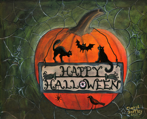 Happy Halloween Pumpkin Folk Art Painting