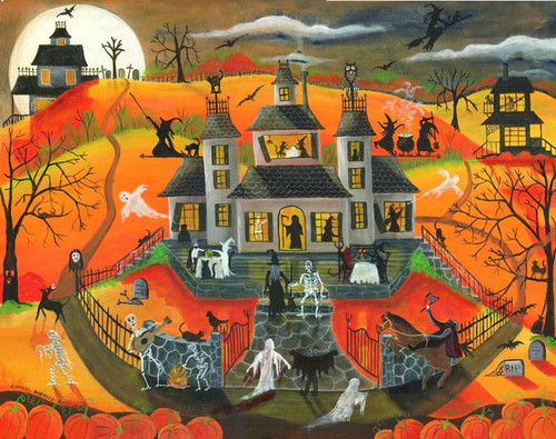 Calling All Spookables Halloween Folk Art Print