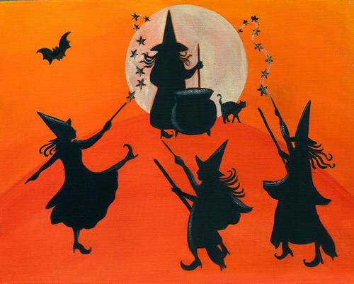 Halloween Dancing Witches Moon Spell Folk Art Print