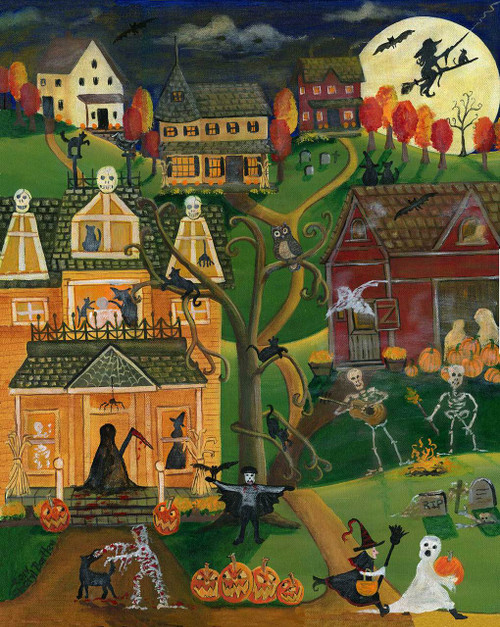 Halloween Skull and Bones Town Original Folk Art Painting SOLD