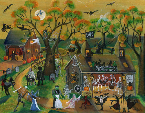 Halloween Skull and Bones Dance Band Original Folk Art Painting SOLD