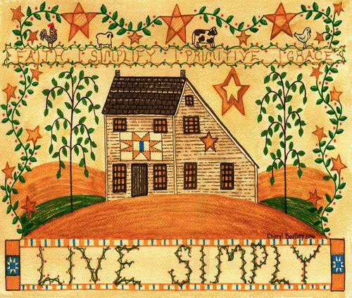 Live Simply Folk Art Watercolor Original Painting