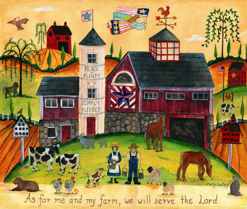 We will serve the Lord Folk Art painting SOLD