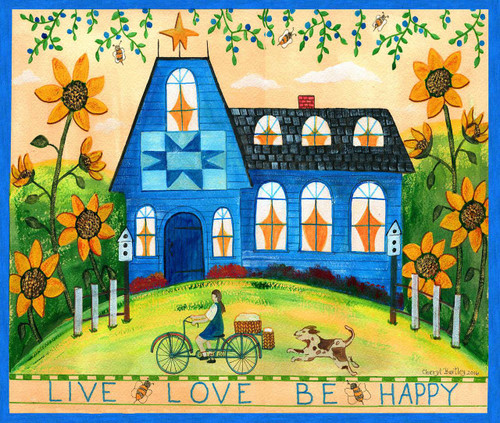 Live Love Be Happy Folk Art Watercolor Original Painting