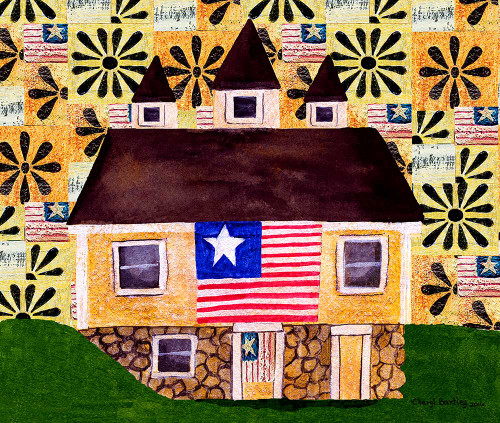 One Flag One Land Folk Art Print 11x14