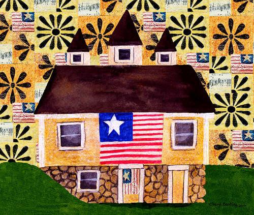 One Flag One Land Folk Art Print 11x14