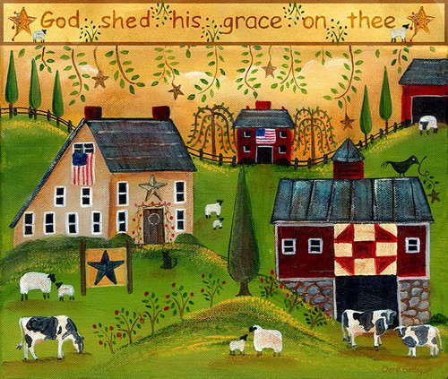 God Shed His Grace on Thee Folk Art Print 11x14
