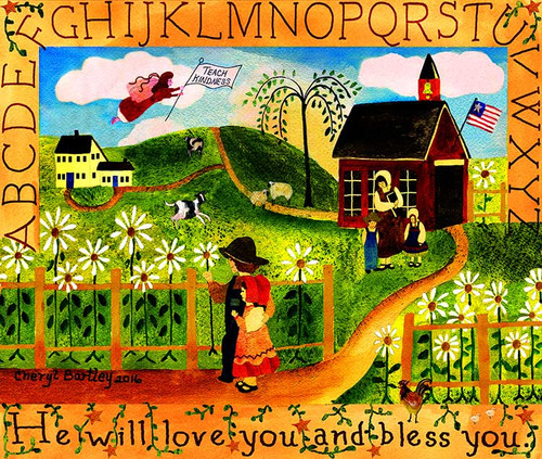 He will love you and bless you school house folk art print 11x14