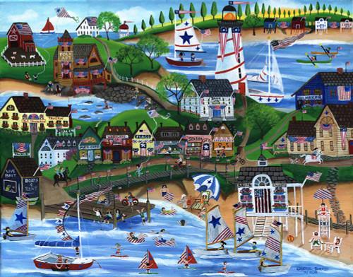Old New England 4th of July Celebration Folk Art Print