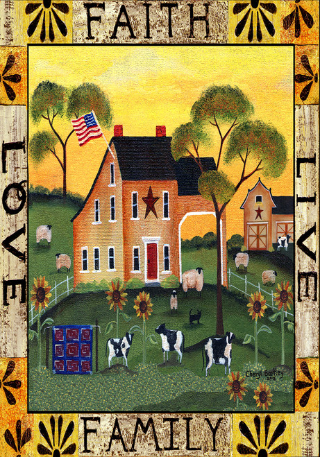 Faith Family Live Love Garden House Flag Folk Art Design