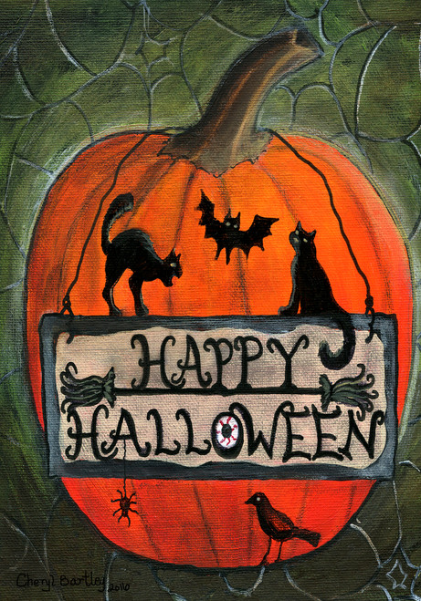 Happy Halloween Folk Art Pumpkin Garden House Flag Design 4
