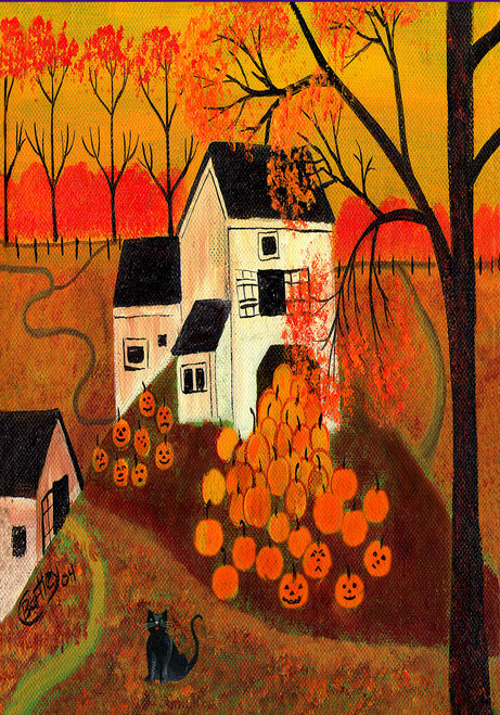 Autumn Pumpkin Barn Folk Art Garden House Flag Design 5