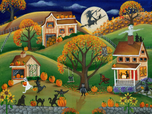 Halloween Folk Art Painting Autumn Harvest Pumpkin Fun SOLD