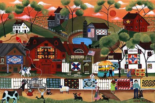 Americana Sunrise Quilters Folk Art Village Painting SOLD