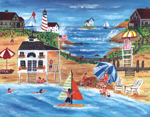 Beach Day Fun Folk Art Print 8x10