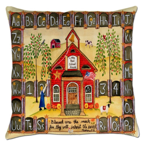 Little Red School House Folk Art Throw Pillow