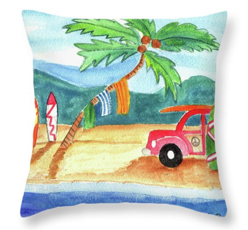 "Beach Bum Surfboard Palm Tree Throw Pillow 14"" x 14"""
