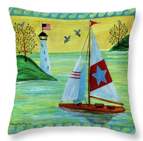 "Sunset Sailboat Folk Art Throw Pillow 14"" x 14"""