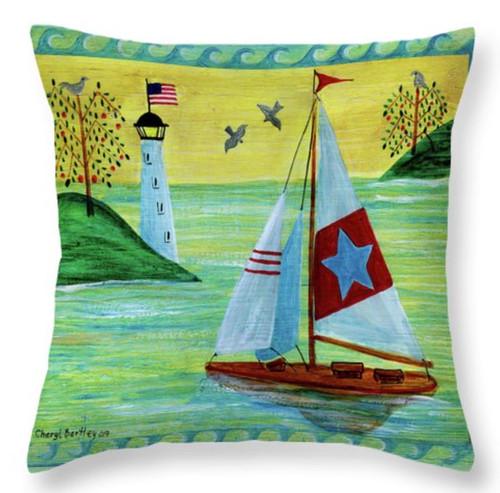 "Sunset Sailboat Folk Art Throw Pillow 14"" x 14"""