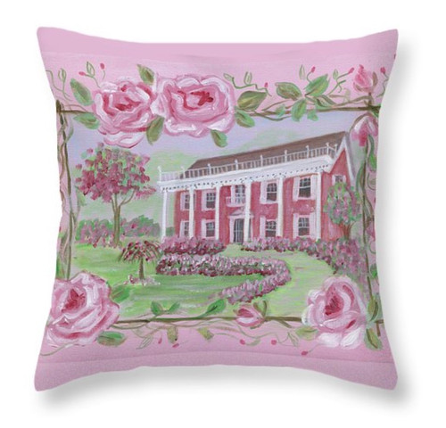 """Shabby Chic Pink Rose House Throw Pillow 16"""" x 16"""""""