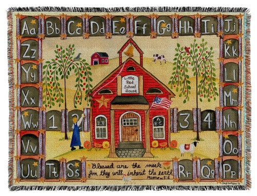 """Woven Throw Blanket Little Red School House 54x70"""""""