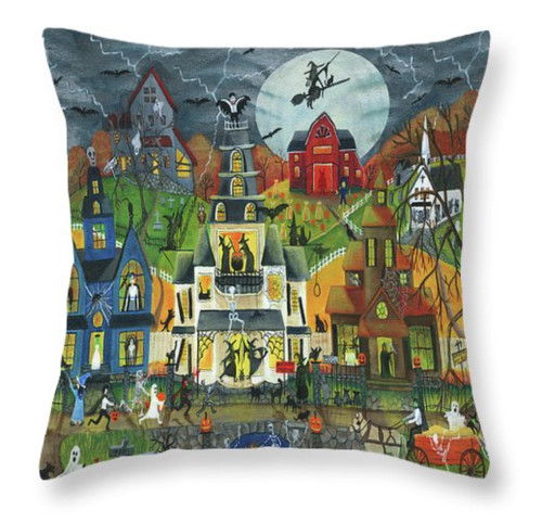 Spooky Street Halloween Folk Art Throw Pillow