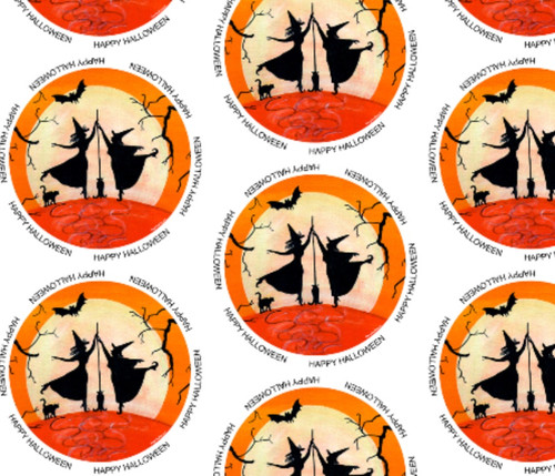 Happy Halloween Witch Dance Fabric