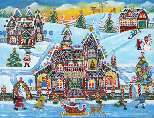 Christmas Gingerbread Inn and Cafe Original Folk Art Painting