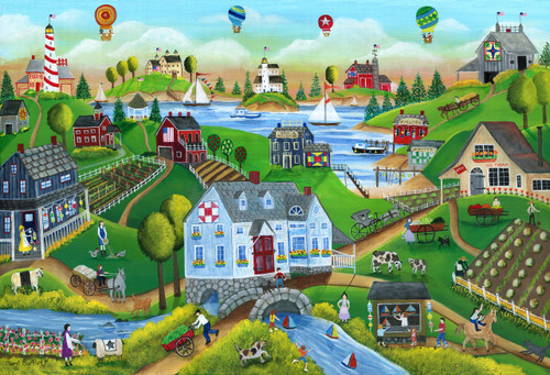 Village by the sea with hot air ballon original folk art painting